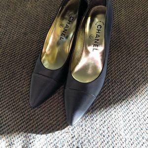 Chanel black satin heels